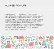 Tarjeta de visita La plantilla con negocio garabatea los iconos fijados Iconos del negocio del bosquejo Foto de archivo
