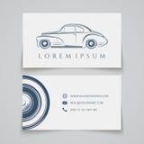 Tarjeta de visita Logotipo clásico del coche Imagen de archivo libre de regalías