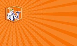 Tarjeta de visita Mercury Holding Caduceus Staff Shield retro ilustración del vector