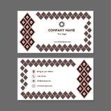 Tarjeta de visita o tarjeta de visita con diamantes negros y rojos Imágenes de archivo libres de regalías