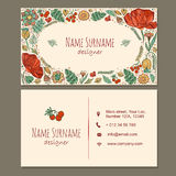 Tarjeta de visita tarjeta de visita con el estampado de flores dibujado mano linda ilustración del vector