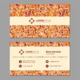 Tarjeta de visita, tarjeta de visita con el modelo poligonal abstracto VE stock de ilustración