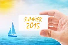Tarjeta 2015 de visita turística de With Summer del agente fotografía de archivo