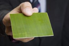 Tarjeta de visita verde Imagen de archivo