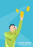 Tarjeta de Whistle Show Yellow del árbitro del fútbol Imágenes de archivo libres de regalías