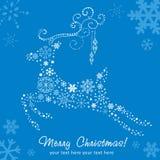 Tarjeta decorativa adornada de los ciervos de la Navidad Imágenes de archivo libres de regalías