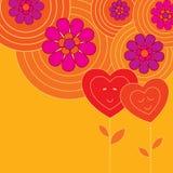 Tarjeta decorativa con dos corazones Imágenes de archivo libres de regalías