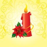 Tarjeta decorativa con la vela Imagenes de archivo