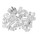 Tarjeta decorativa del diseño de los garabatos del vector De nuevo a Imagen de archivo