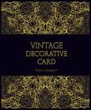 Tarjeta decorativa del vector del vintage para las bodas con un étnico floral Fotos de archivo