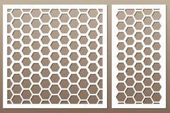 Tarjeta decorativa determinada para cortar Modelo de rejilla de Pentágono Cu del laser stock de ilustración