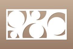 Tarjeta decorativa para cortar el laser o el trazador el panel geométrico del modelo del círculo del arte Corte del laser 1:2 del stock de ilustración