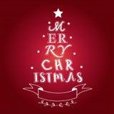 Tarjeta del árbol de la tipografía de la Feliz Navidad Fotografía de archivo