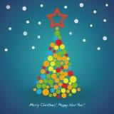 Tarjeta del árbol de navidad Fotos de archivo libres de regalías