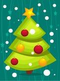 Tarjeta del árbol de navidad de la historieta Foto de archivo libre de regalías