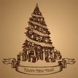 Tarjeta del árbol de navidad Feliz Año Nuevo Vector bosquejo Imagenes de archivo