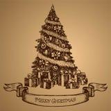 Tarjeta del árbol de navidad Feliz Navidad Vector bosquejo Imagenes de archivo