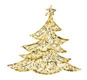 Tarjeta del árbol de navidad de Golg del vector árbol de navidad del dibujo, ejemplo de un cartel del color del árbol de navidad  imagen de archivo libre de regalías