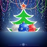 Tarjeta del árbol de navidad y de la chuchería Imagenes de archivo