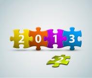 Tarjeta del Año Nuevo 2013 hecha de rompecabezas Fotografía de archivo libre de regalías