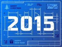Tarjeta del Año Nuevo 2015 como el dibujo del modelo Foto de archivo