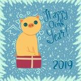 Tarjeta del Año Nuevo con el cerdo amarillo stock de ilustración