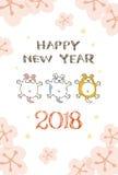Tarjeta del Año Nuevo 2018 con el ejemplo del perro Fotos de archivo