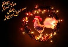 Tarjeta del Año Nuevo 2017 con el gallo hecho a mano Fotos de archivo libres de regalías