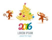 Tarjeta del Año Nuevo con el mono por el año 2016 Fotografía de archivo libre de regalías