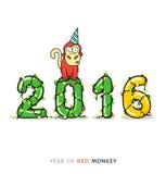 Tarjeta del Año Nuevo con el mono por el año 2016 Foto de archivo