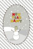 Tarjeta del Año Nuevo con el muñeco de nieve y el saludo Imagen de archivo libre de regalías