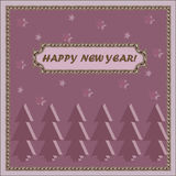 Tarjeta del Año Nuevo con Feliz Año Nuevo de los deseos Fotografía de archivo