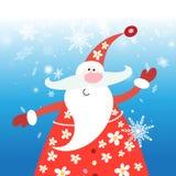 Tarjeta del Año Nuevo con feliz Santa Claus Fotografía de archivo