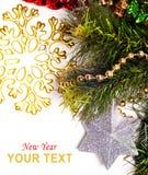 Tarjeta del Año Nuevo con la estrella hermosa Fotografía de archivo libre de regalías