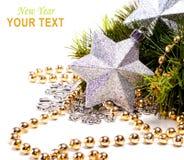 Tarjeta del Año Nuevo con la estrella hermosa Fotografía de archivo