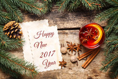 Tarjeta del Año Nuevo 2017 con las decoraciones de la Navidad Imagen de archivo