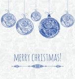 Tarjeta del Año Nuevo con las decoraciones ornamentales azules de la Navidad libre illustration