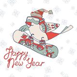Tarjeta del Año Nuevo con las letras multicoloras buenas fiestas ilustración del vector
