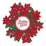 Tarjeta del Año Nuevo con las letras y el modelo de flores de la estrella de la Navidad en el fondo blanco ilustración del vector