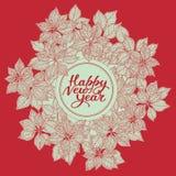 Tarjeta del Año Nuevo con las letras y el modelo de flores de la estrella de la Navidad en fondo rojo ilustración del vector