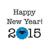 tarjeta del Año Nuevo 2015 con las ovejas stock de ilustración