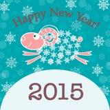 tarjeta del Año Nuevo 2015 con las ovejas Imágenes de archivo libres de regalías
