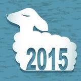 tarjeta del Año Nuevo 2015 con las ovejas Ilustración del vector Fotos de archivo