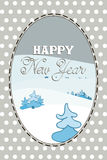 Tarjeta del Año Nuevo con los árboles de navidad Imagen de archivo