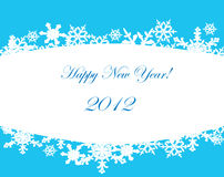 Tarjeta del Año Nuevo con los copos de nieve. Fotografía de archivo libre de regalías