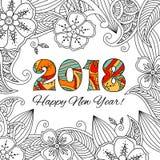 Tarjeta del Año Nuevo con los números 2018 en fondo floral Foto de archivo