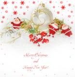 Tarjeta del Año Nuevo con Santas Fotos de archivo