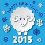 Tarjeta del Año Nuevo con una oveja Imagen de archivo libre de regalías