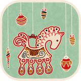 Tarjeta del Año Nuevo del vintage - caballo de la decoración Imagenes de archivo