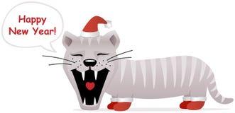 Tarjeta del Año Nuevo, gato sonriente Imagenes de archivo